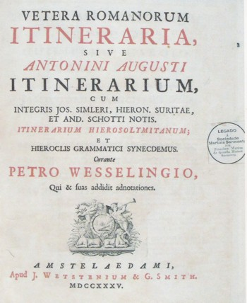 Cover of the book, Itinerarium Antonini Augusti (1735).
