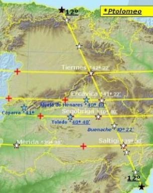 Coordenadas de ptolomeo de hispania. partiendo de un punto oº